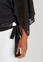 edit - Slit Sleeve Blouse with Front Ties Black