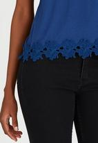 edit - Cami with Back Pleat and Border Lace Navy