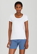 JEEP - Embroidered Scoop Neck Tee White