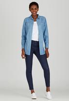 JEEP - Roll-up Sleeve Denim Shirt Mid Blue