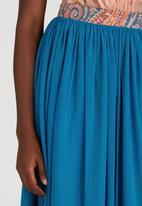 Sober - Mesh Midi Popskirt with Printed Band Mid Blue