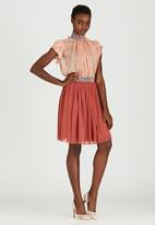 Sober - Mesh Popskirt with Printed Band Mid Brown