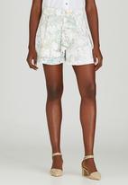 Judith Atelier - Asymmetrical Marbled Shorts Milk