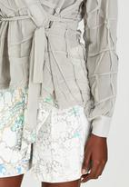Judith Atelier - Pleated Manipulated Chiffon Wrap Blouse Grey