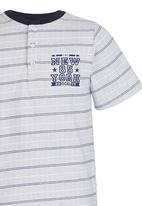 Rebel Republic - Henley Tee Blue and White