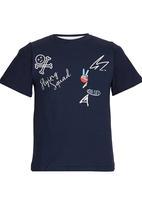 Rebel Republic - Slim Fit Printed T-shirt Navy
