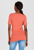Cherry Melon - Short Sleeve Wrap Front Top Coral