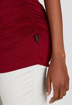 Cherry Melon - Side Gauge Short Sleeve Top Dark Red