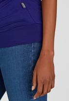Cherry Melon - Short Sleeve Wrap Front Top Dark Blue