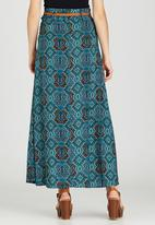 Revenge - All-over Print Maxi Skirt Turquoise