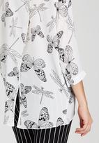 Revenge - Dragonfly & Butterfly Print Shirt White