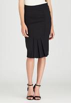 edit - Front Pleat Detailed Semi-fitted Skirt Grey
