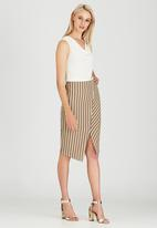 STYLE REPUBLIC - Asymmetrical Midi Skirt Stone