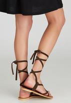 edit - Leather Lace-up Sandals Dark Brown