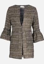 edit - 3/4 Sleeve Textured Coat Gold