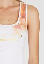 GUESS - Cascading Flower Logo Tank White