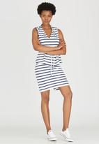 Jenja - Striped Slub Knit Top with Ties Blue and White