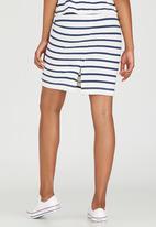 Jenja - Striped Slub Knit Skirt Blue and White