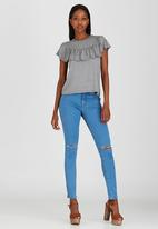 STYLE REPUBLIC - Frill Detail T-shirt Pale Grey