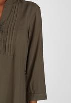 edit - Button Front Tunic Khaki Green