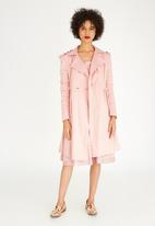 adam&eve; - Heedley Double-breasted Pleat Detail Coat Pale Pink