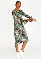 Slick - Devon Tie Sleeve Dress Green