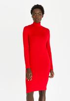edit - Polo neck knit dress - red