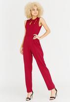 ELIGERE - Neckline Detail Jumpsuit Dark Red