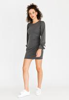 c(inch) - Tie Sleeve Dress Dark Grey