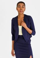 edit - 3/4 Sleeve Cropped Jacket Navy