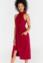edit - High Neckline Dress with Self Tie Belt Dark Red