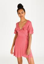 c(inch) - Frill Detail Wrap Dress Coral