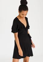c(inch) - Frill Detail Wrap Dress Black