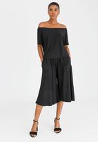 Isabel de Villiers - Off Shoulder Culottes Jumpsuit Black
