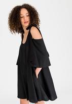 STYLE REPUBLIC - Cold Shoulder Swing Dress Black