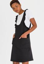 c(inch) - Frill Detail Pinafore Black