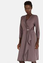 edit - Trim Detail Wrap Over Dress Taupe