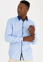 STYLE REPUBLIC - Contrast Long Sleeve Shirt Blue