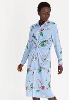 STYLE REPUBLIC - Striped Twist Front Shirt Dress Blue