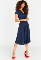 edit - Midi Flared Skirt with Trim Navy