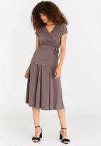 edit - Midi Flared Skirt with Trim Taupe