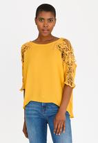 edit - Top with Crochet Sleeves Yellow