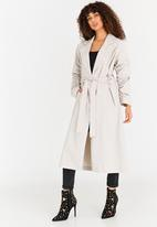 STYLE REPUBLIC - Ruched Sleeve Trench Coat Stone