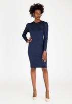 edit - Shift Dress with Puffy Sleeves Navy