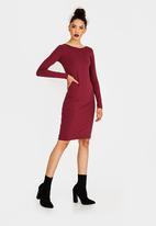 STYLE REPUBLIC - Back Lace Up Dress Burgundy