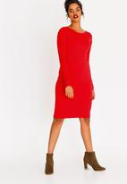 edit - Ruched Sleeve Dress Dark Red