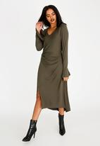 G Couture - Knot Front Dress Khaki Green