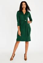 edit - Trim Detail Wrap Over Dress Dark Green