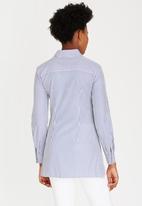 Closet London - Stripe Front Tie Detail Shirt Blue and White
