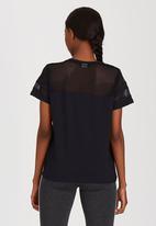 c(inch) - Mesh Inset T-shirt Black